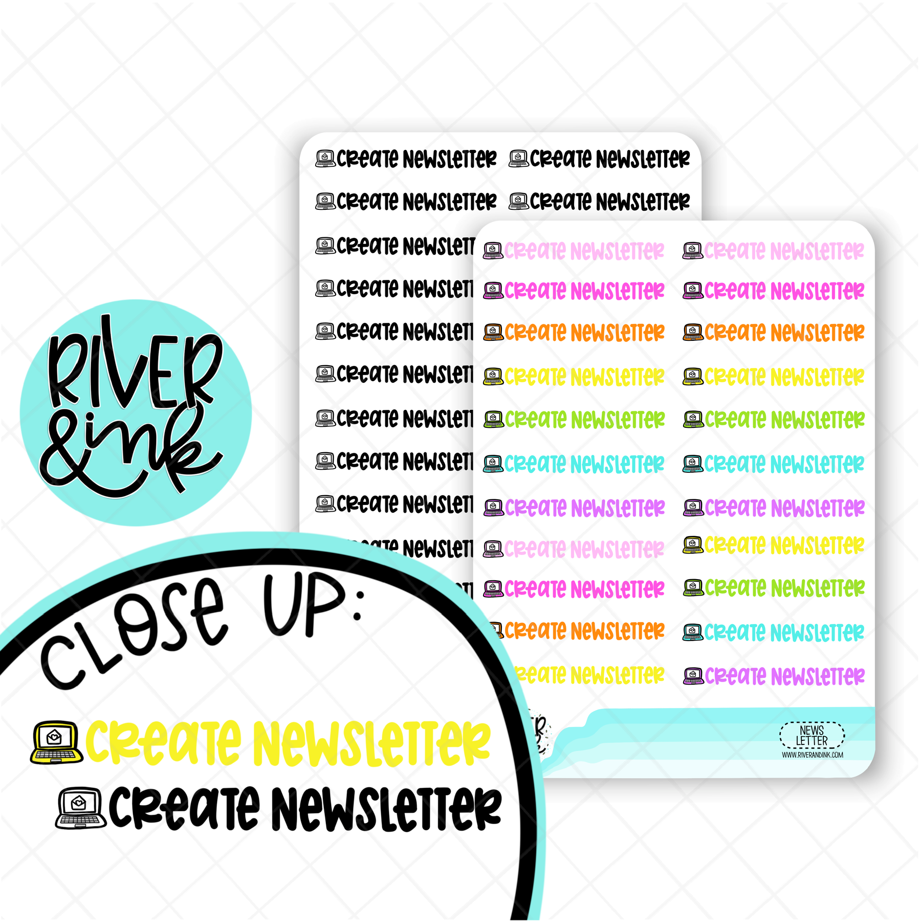 Create Newsletter | Hand Lettered Planner Stickers