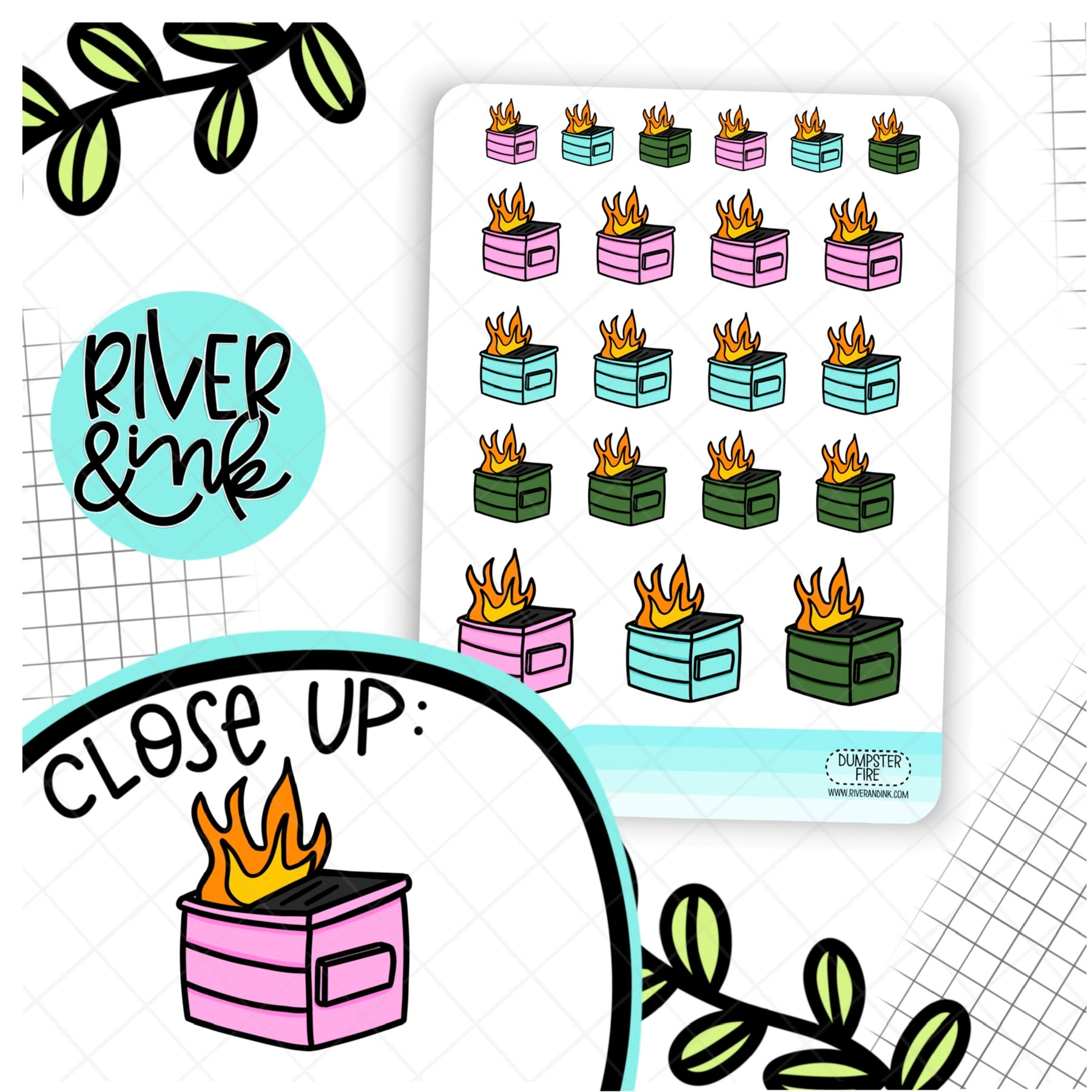 Dumpster Fire | Hand Drawn Planner Stickers