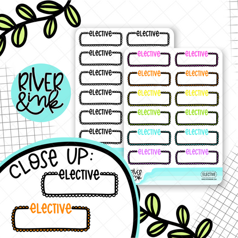 Elective Quarter Boxes | Hand Lettered Planner Stickers