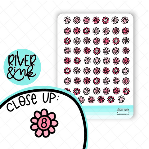 Flower Number Dates | Hand Drawn Planner Stickers