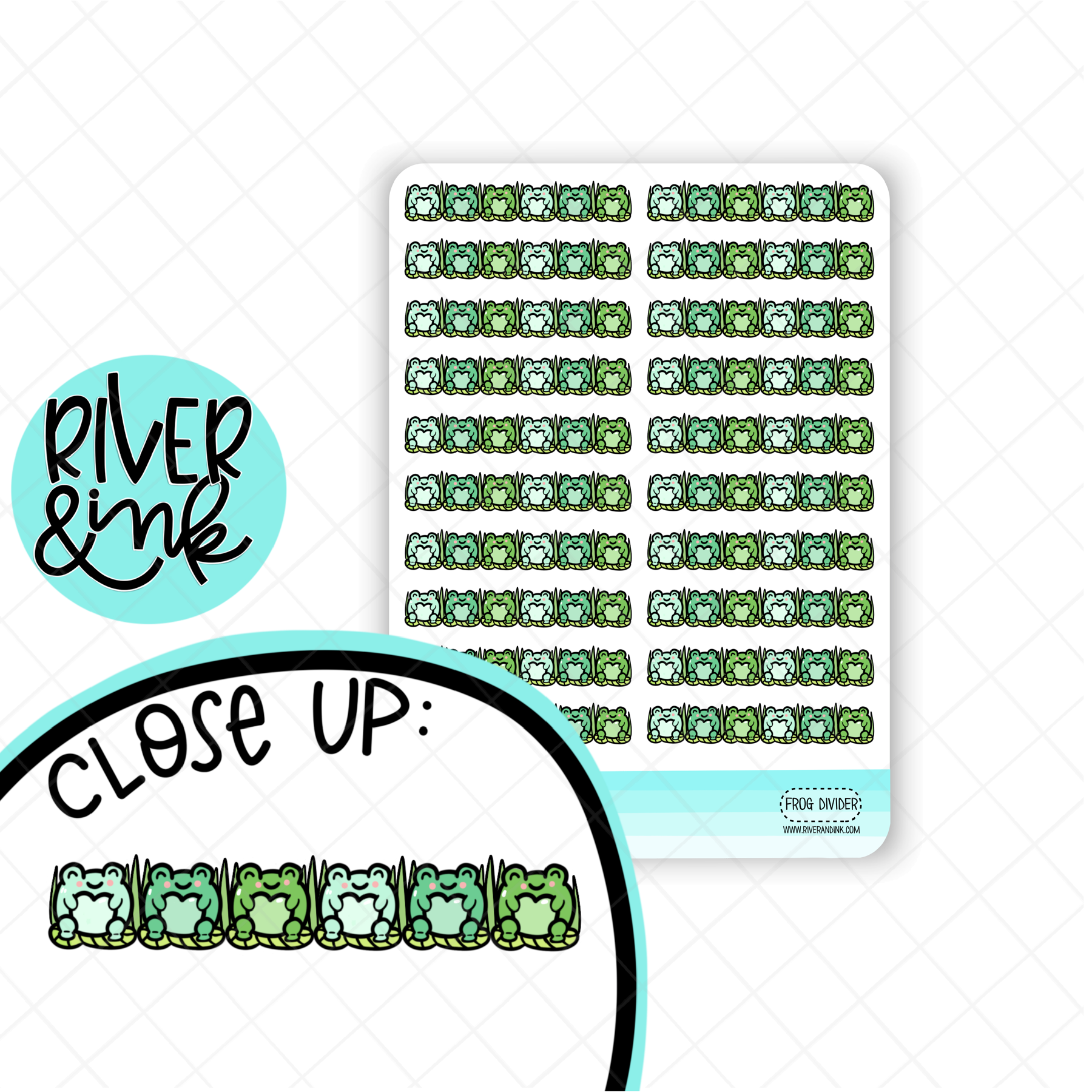 Frog Divider | Hand Drawn Planner Stickers