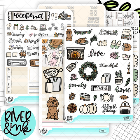 Grateful Home Thanksgiving | Weekly Planner Stickers Kit