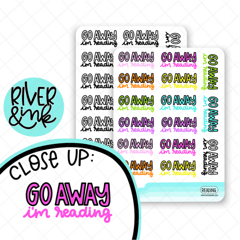 Go Away, I'm Reading Quote | Hand Lettered Planner Stickers