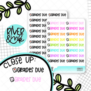 Grades Due | Hand Lettered Planner Stickers