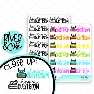 Clean Guest Bedroom | Hand Lettered Planner Stickers