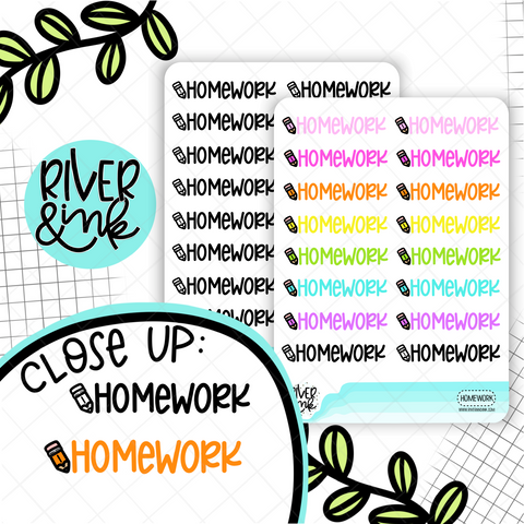 Homework | Hand Lettered Planner Stickers