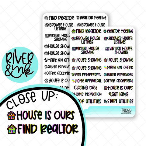 House Hunting | Hand Lettered Planner Stickers