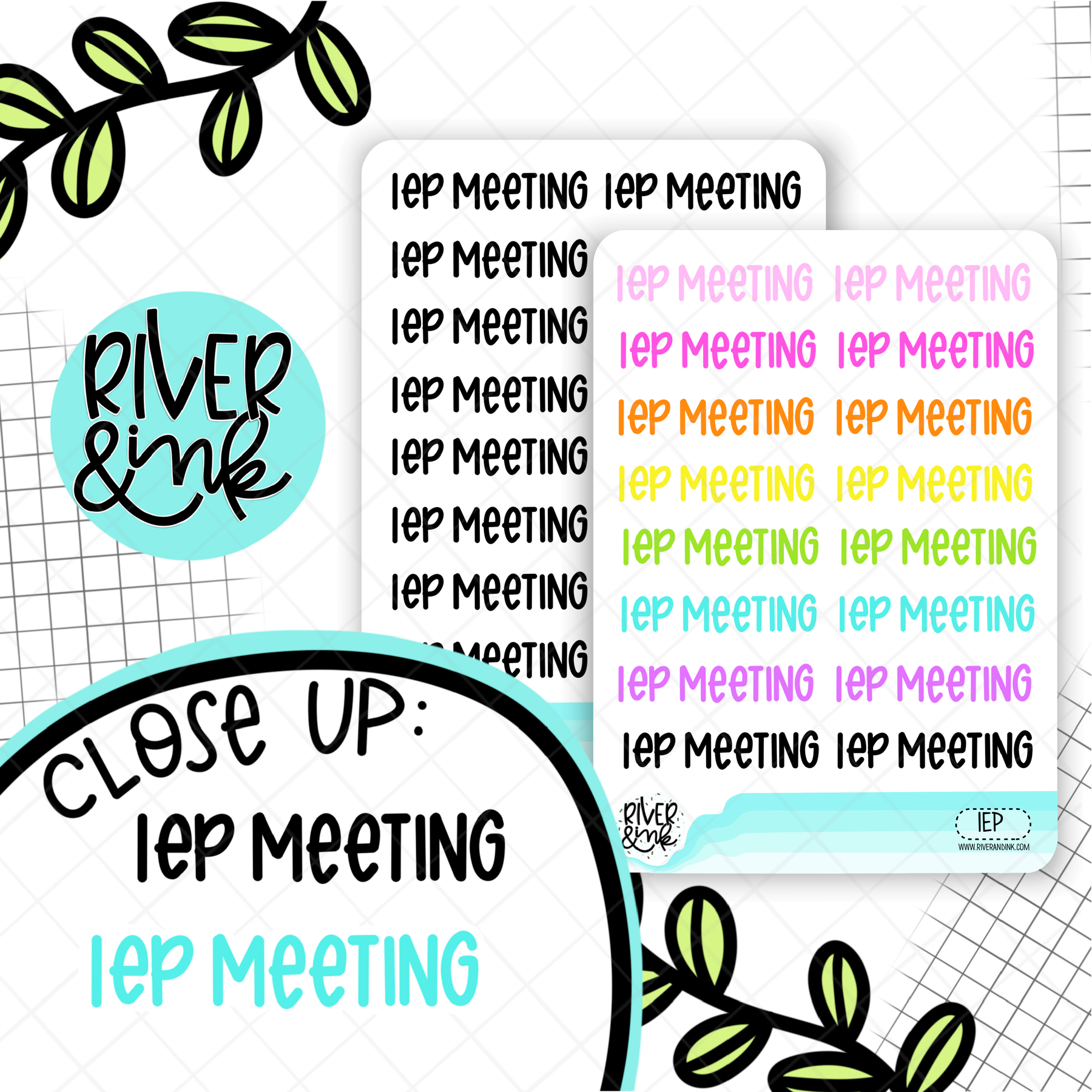 IEP Meeting | Hand Lettered Planner Stickers