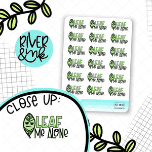 Leaf Me Alone | Hand Drawn Planner Stickers