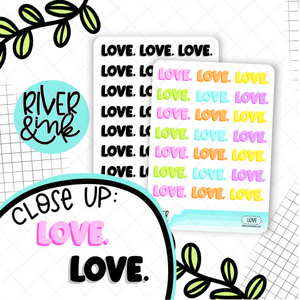 Love Bubble Word | Hand Lettered Planner Stickers