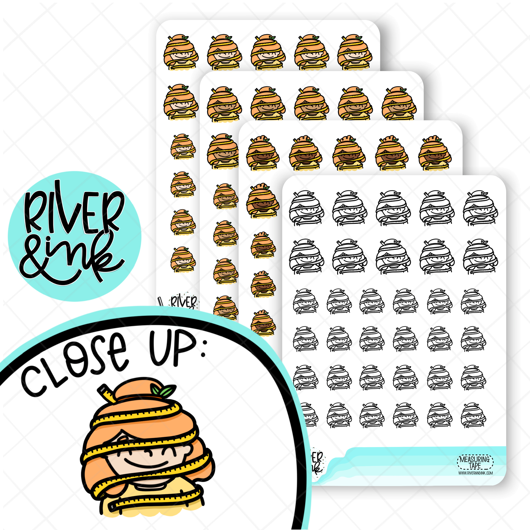 Measuring Tape Planner Characters | Hand Drawn Planner Stickers