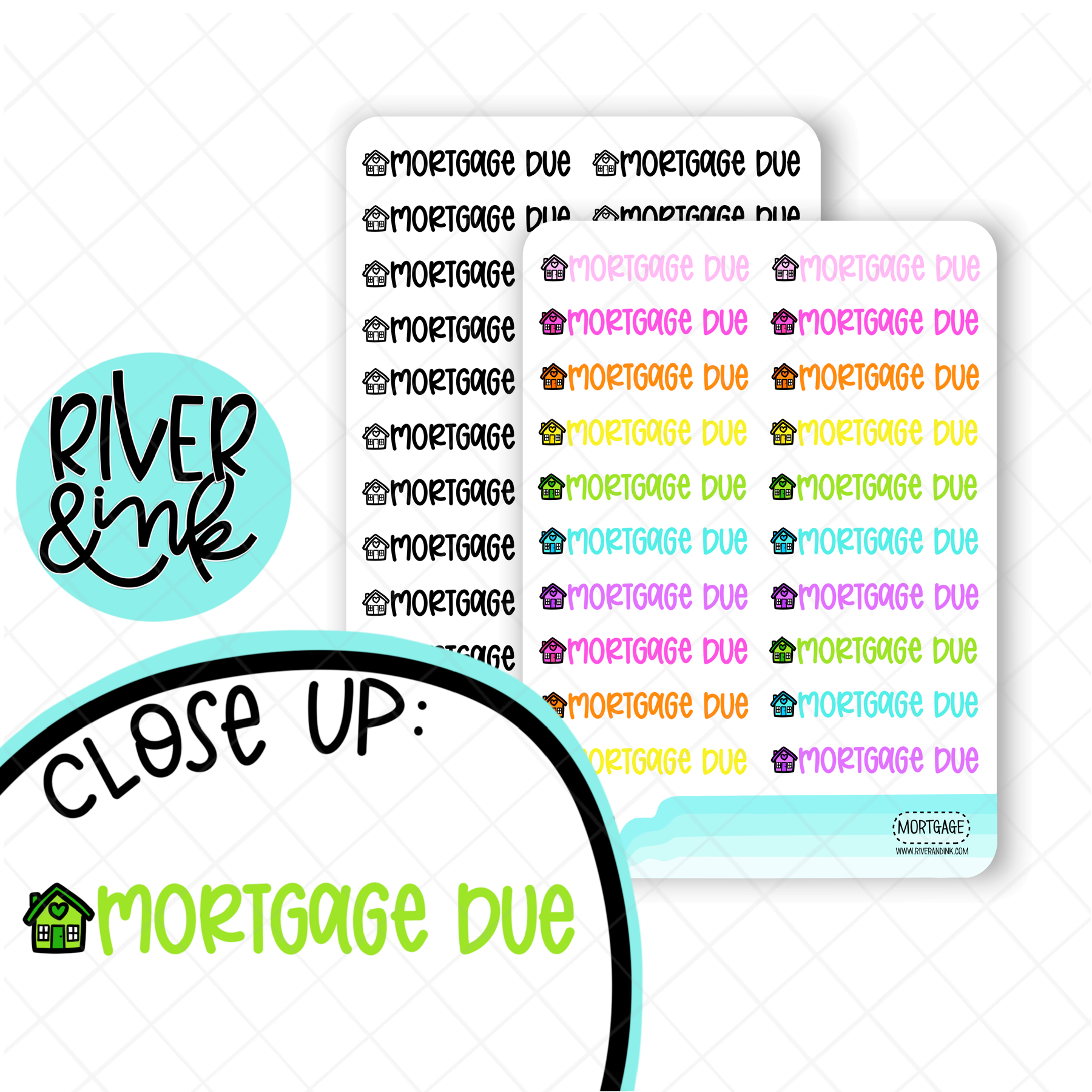 Mortgage Due | Hand Lettered Planner Stickers