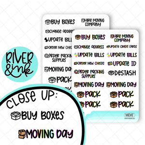 Moving Day | Hand Lettered Planner Stickers