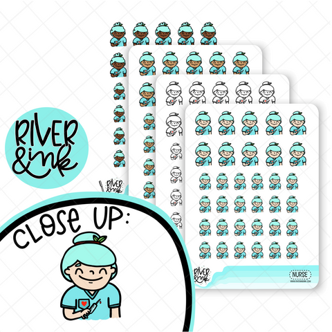 Nurse/Medical Planner Characters | Hand Drawn Planner Stickers