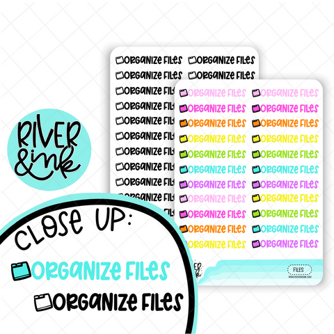 Organize Files | Hand Lettered Planner Stickers