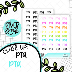 PTA | Hand Lettered Planner Stickers