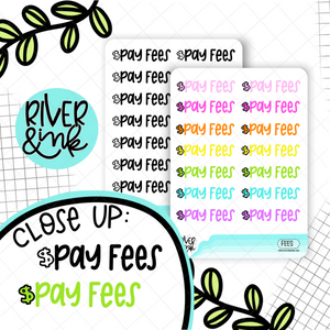 Pay Fees | Hand Lettered Planner Stickers