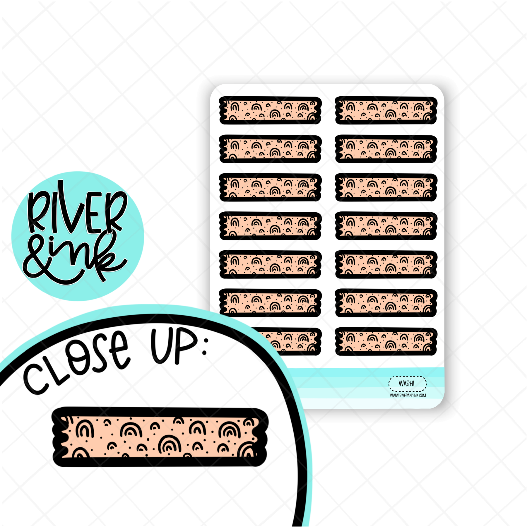 Peach Rainbow Washi Strip | Hand Drawn Planner Stickers