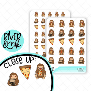 Pizza Biggie Sass Planner Character | Hand Drawn Planner Stickers
