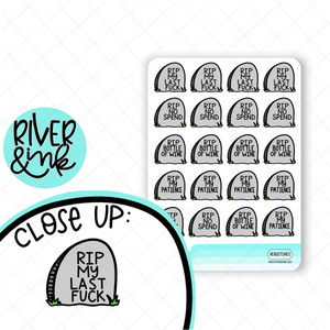 RIP Headstones | Hand Lettered Planner Stickers