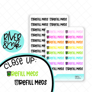 Refill Medication | Hand Lettered Planner Stickers