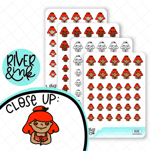 Rose Fancy Planner Characters | Hand Drawn Planner Stickers