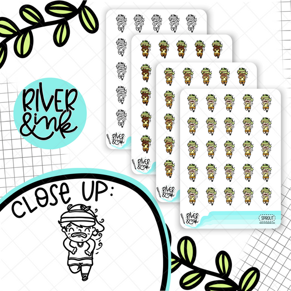 Running Fitness Planner Characters | Hand Drawn Planner Stickers