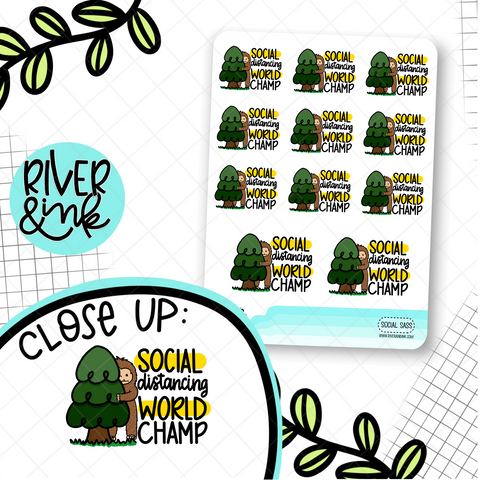 Social Distancing Champ Biggie Sass Planner Character | Hand Drawn Planner Stickers