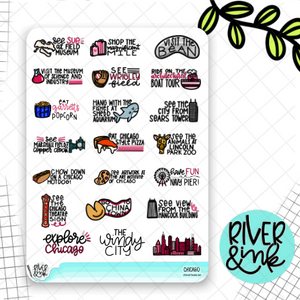 Chicago Bucket List | Hand Lettered Planner Stickers