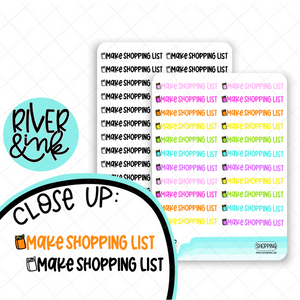 Make Shopping List | Hand Lettered Planner Stickers