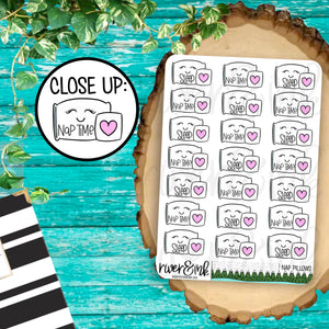 Sleep Nap Time Pillow Planner Stickers