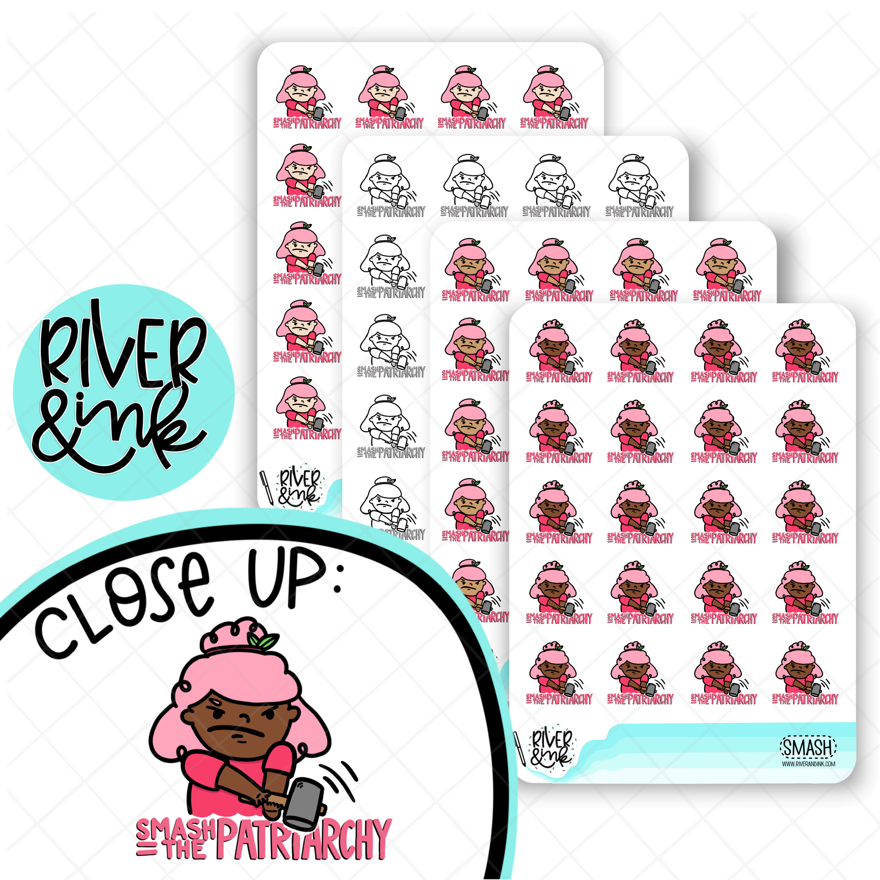 Smash the Patriarchy River Girls Planner Characters | Hand Drawn Planner Stickers