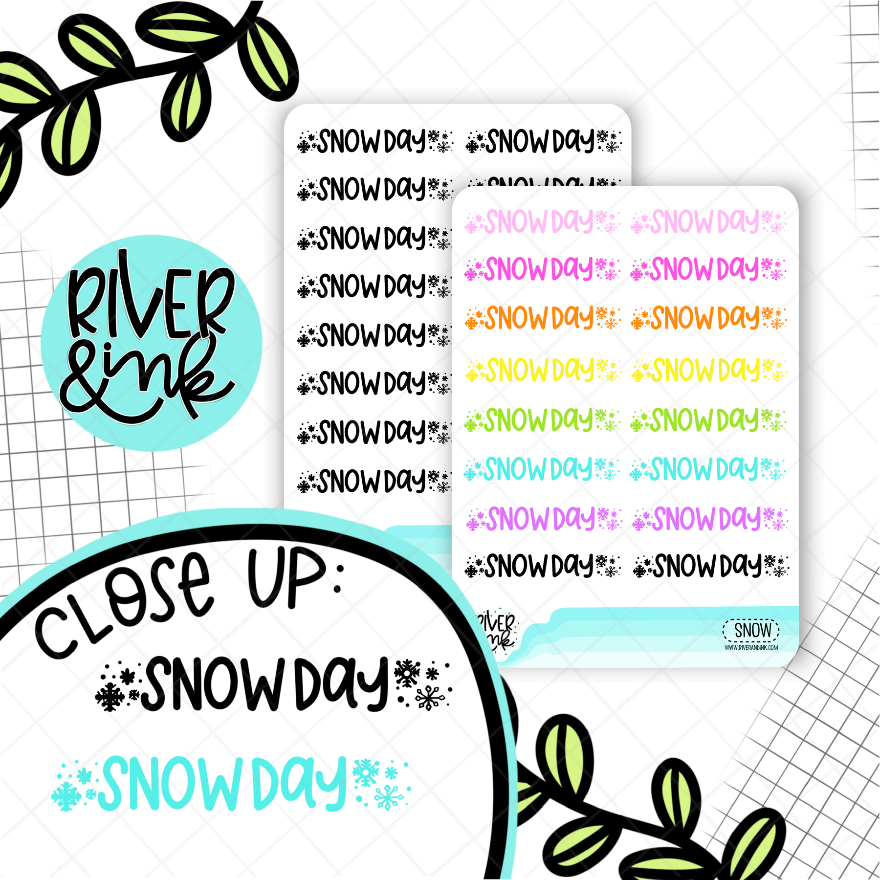 Snow Day | Hand Lettered Planner Stickers