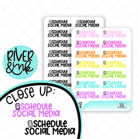 Schedule Social Media | Hand Lettered Planner Stickers