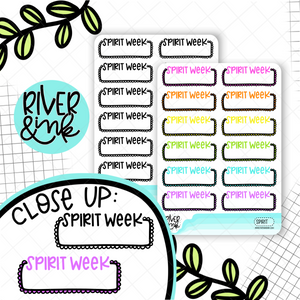 Spirit Week Quarter Boxes | Hand Lettered Planner Stickers