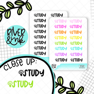 Study | Hand Lettered Planner Stickers