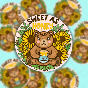 Sweet As Honey Bear | Hand Drawn Vinyl Sticker