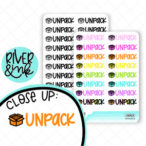 Unpack | Hand Lettered Planner Stickers
