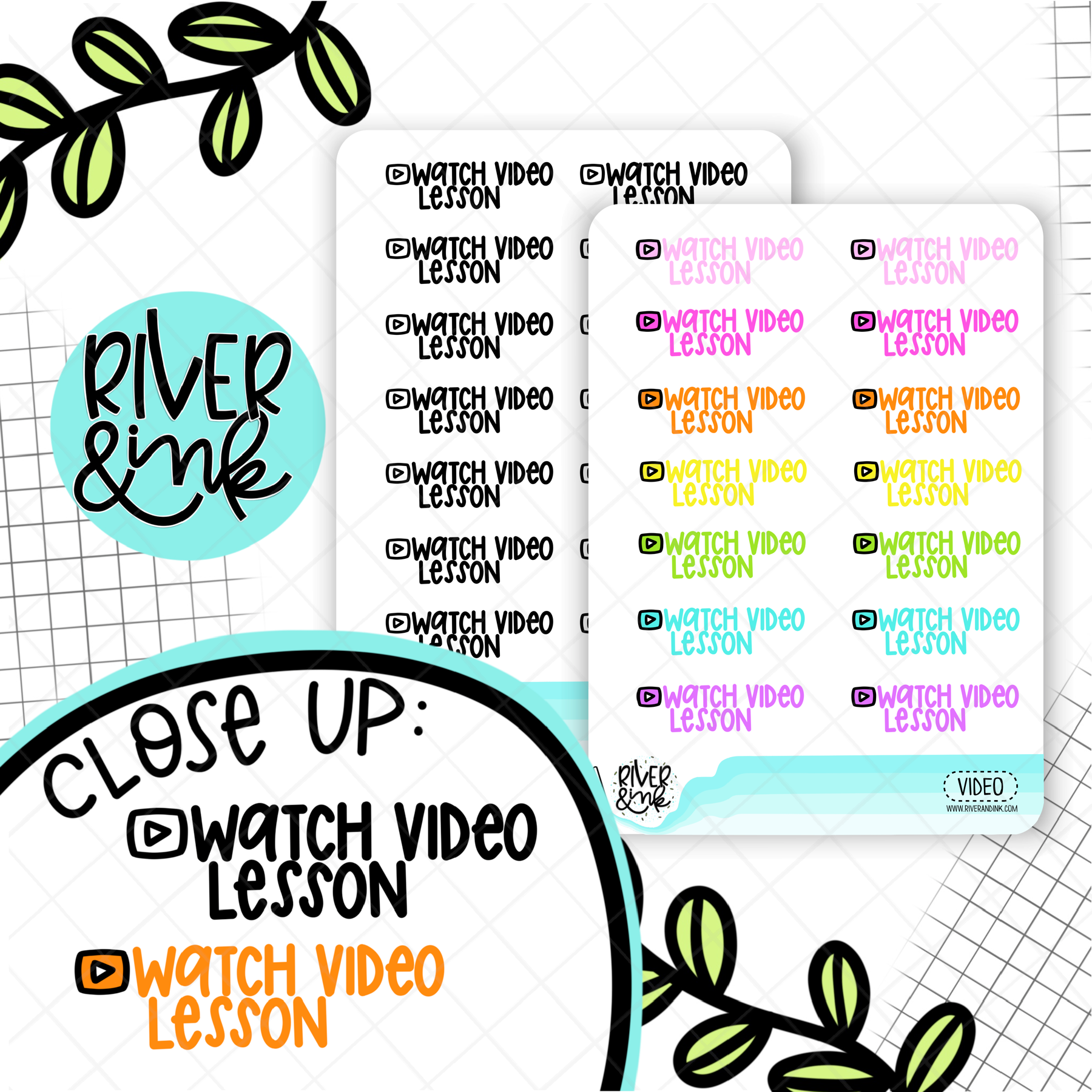 Watch Video Lesson | Hand Lettered Planner Stickers
