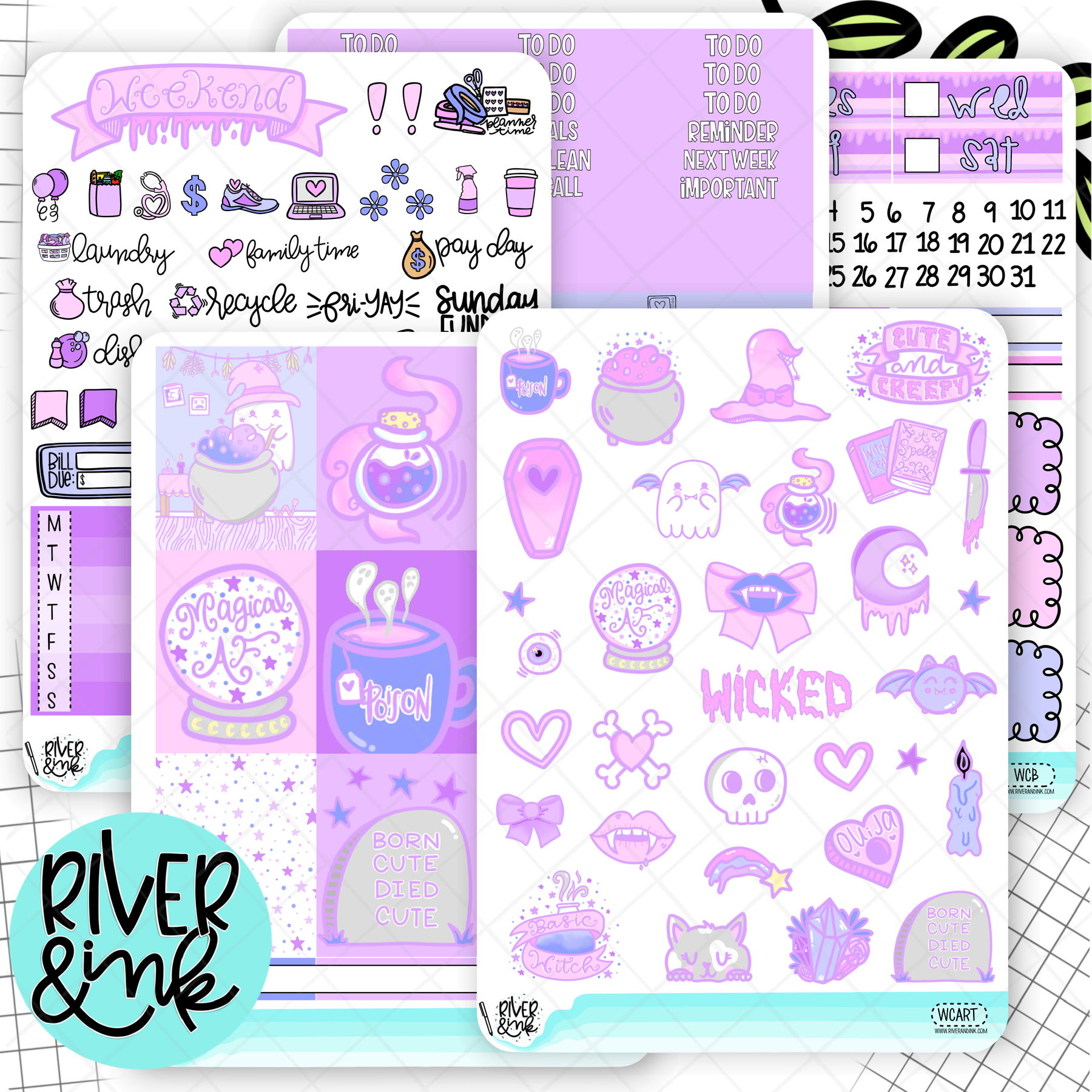 Wicked Cute Halloween | Weekly Vertical Planner Stickers Kit
