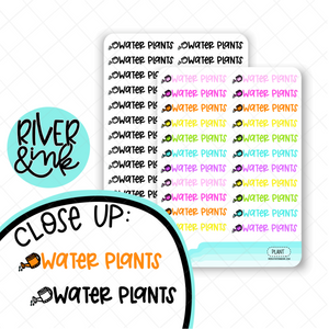Water Plants | Hand Lettered Planner Stickers