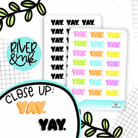 Yay Bubble Word | Hand Lettered Planner Stickers