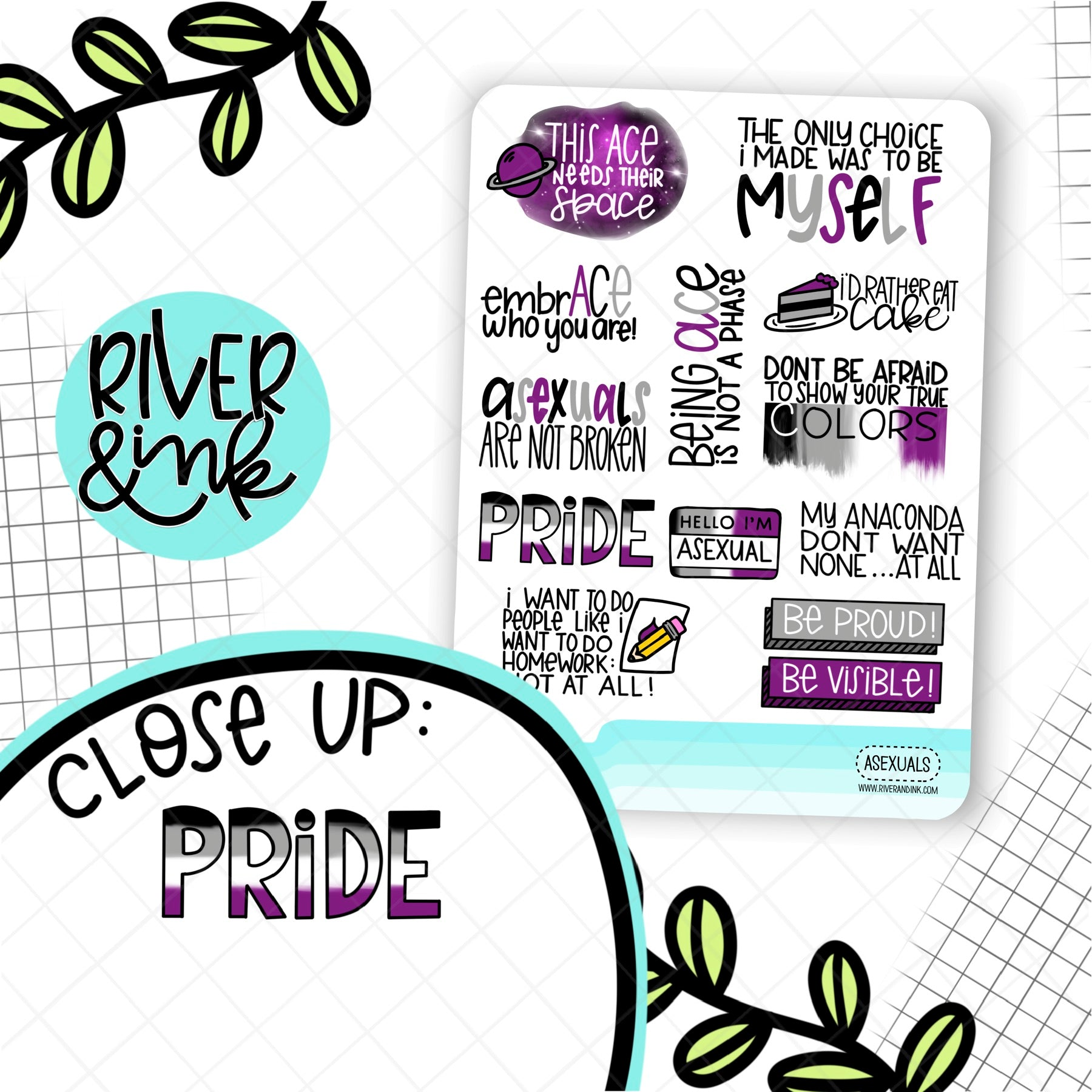 Asexual Pride Quotes | Hand Lettered Planner Stickers
