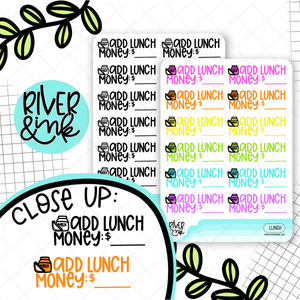 Add Lunch Money | Hand Lettered Planner Stickers