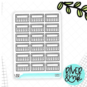Black & White AM PM Tracker | Hand Lettered Planner Stickers