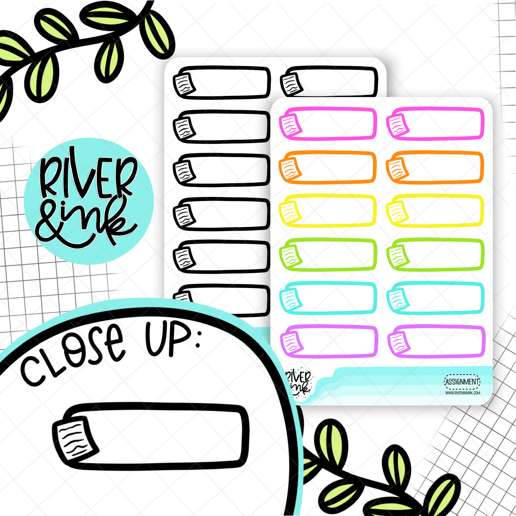 Assignment Paper Quarter Boxes | Hand Drawn Planner Stickers