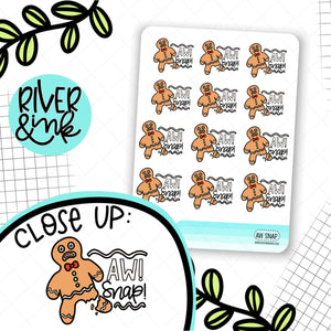 Aw! Snap! Gingerbread | Hand Drawn Planner Stickers