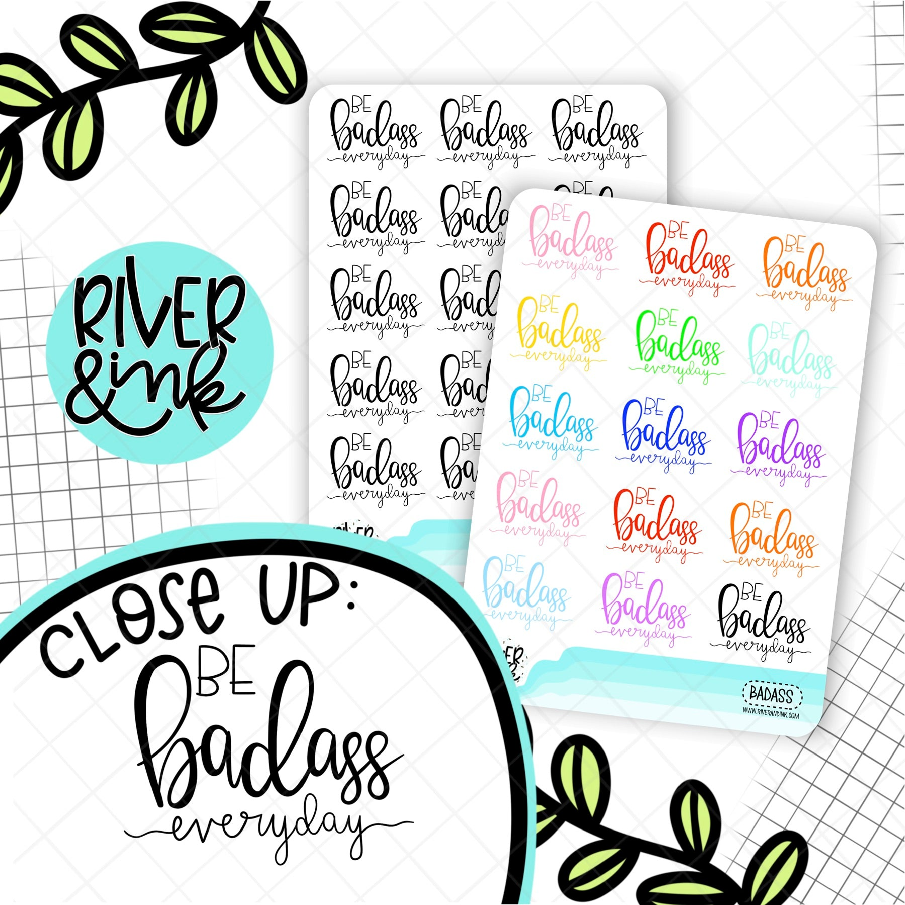 Be Badass Everyday Quote | Hand Lettered Planner Stickers
