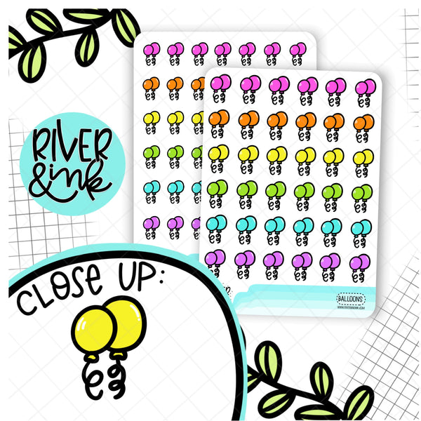 Rainbow Balloon Icon | Hand Drawn Planner Stickers