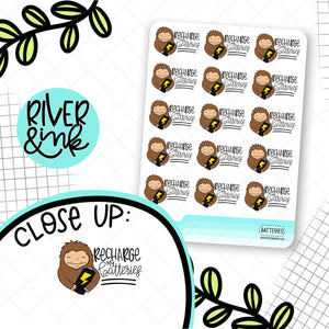 Recharge My Batteries Biggie Sass Planner Character | Planner Stickers